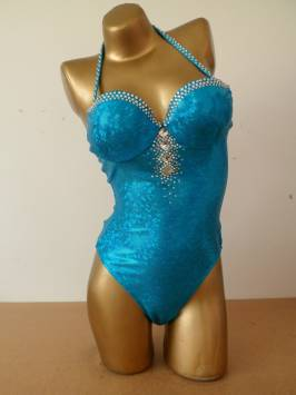 Turquoise One Piece - Foil Material Decorated in Crystals