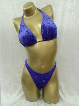 Purple Crushed Velvet Plain Posing Bikini