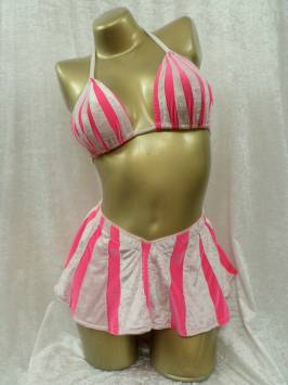 Candy Pink and White Stripe Bikini & Skirt