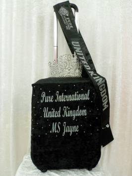 Suitcase Cover - Black Velour - Silver Glitter Printing
