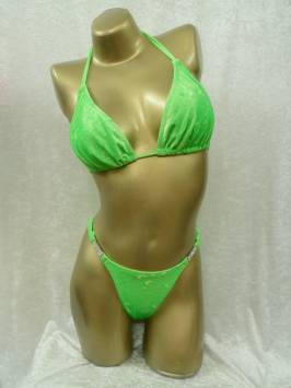Lime Green Crushed Plain Posing bikini