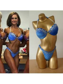Royal Blue Bikini - Crystal Border and Scatter - Smooth Velvet Material - Bra Style