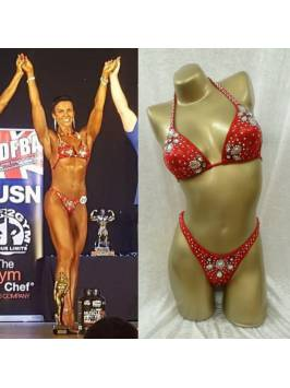 Red Bikini - Foil Material Decorated in Large Clear Shapes and SS20 Crystals