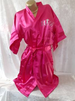 Fuchia Satin Robe