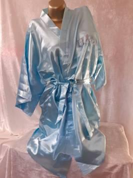 Aqua Satin Robe