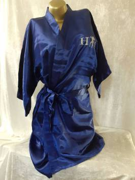 Dark Royal Blue Satin Robe